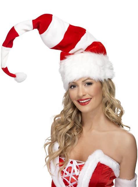 Căciulă Moș Crăciun lungă în dungi