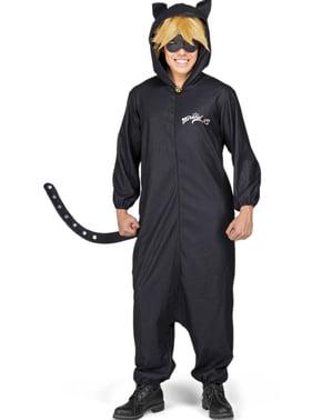 Fato de Gato Noir As Aventuras de Ladybug onesie para adulto