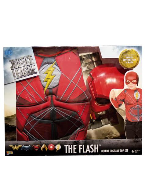 Fato de Flash A Liga da Justiça musculoso para menino em caixa