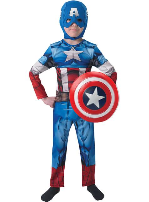Fato de Capitão América Os Vingadores para menino em caixa