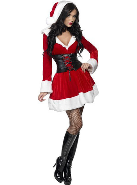 Sexet julekone kostume med hætte