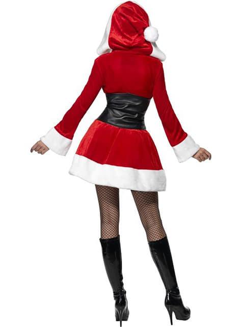 Sexy Mrs. Claus kostyme med hette