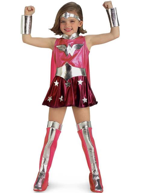 Disfraz de Wonder Woman rosa para niña