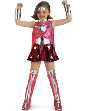 Fato de Wonder Woman cor-de-rosa para menina