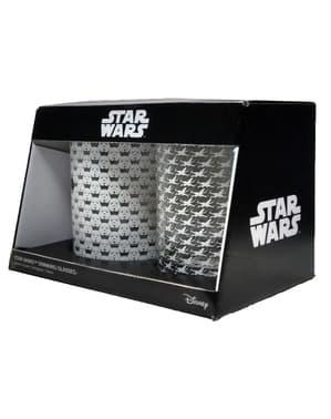 Satz aus 2 Gläsern mit Star Wars Prägung
