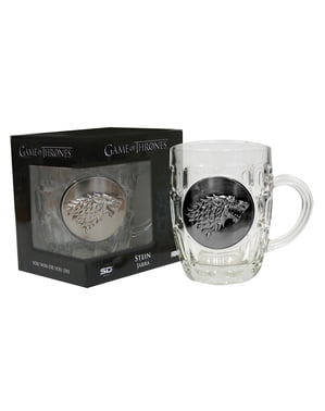 Caneca de cristal de Game of Thrones escudo metálico Stark