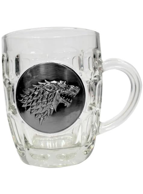Jarra de cristal de Juego de Tronos escudo metálico Stark - oficial