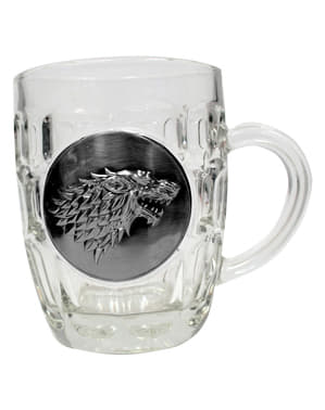 Boccale di cristallo di Game of Thrones scudo metallico Stark