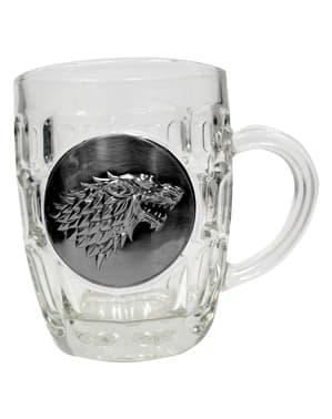 Jarra de cristal de Juego de Tronos escudo metálico Stark