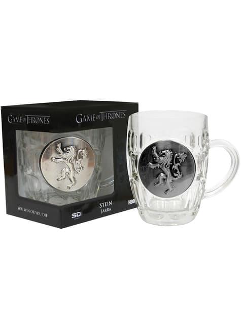 Jarra de cristal de Juego de Tronos escudo metálico Lannister - oficial