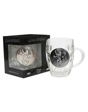 Skleněný hrnek Hra o trůny kovové logo Lannisterů