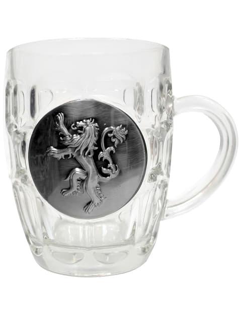 Caneca de cristal de Game of Thrones escudo metálico Lannister