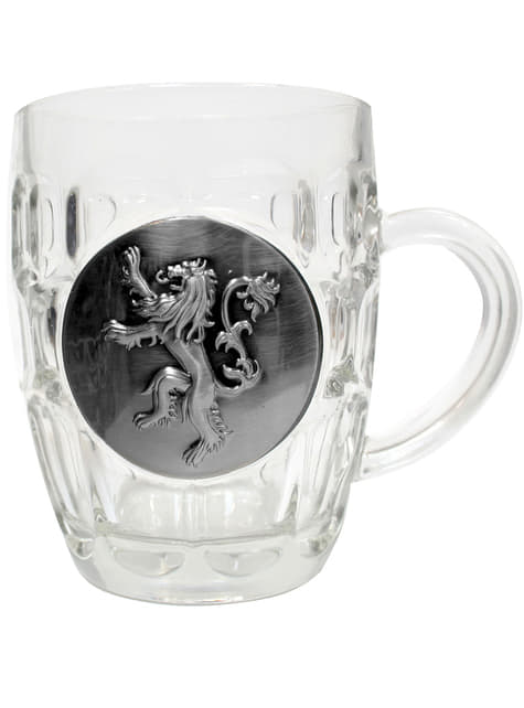 Jarra de cristal de Juego de Tronos escudo metálico Lannister