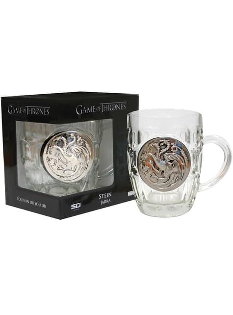 Jarra de cristal de Juego de Tronos escudo metálico Targaryen - oficial