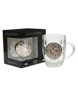 Caneca de cristal de Game of Thrones escudo metálico Targaryen