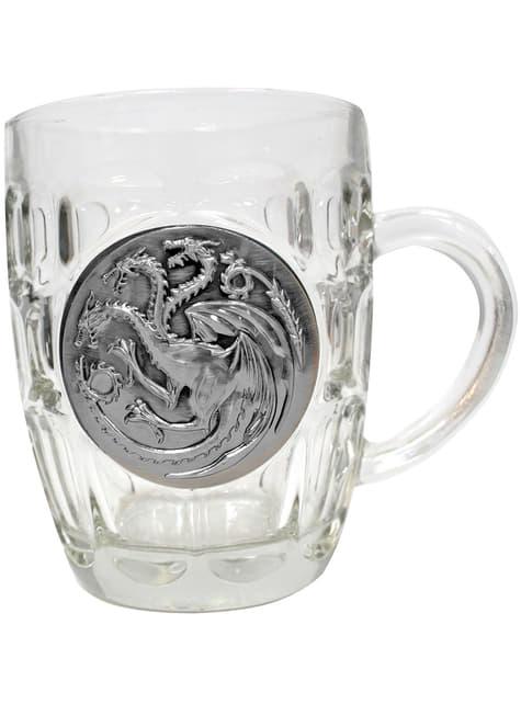Game of Thrones logam Targaryen cangkir kaca perisai