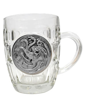 Boccale di cristallo di Game of Thrones scudo metallico Targaryen