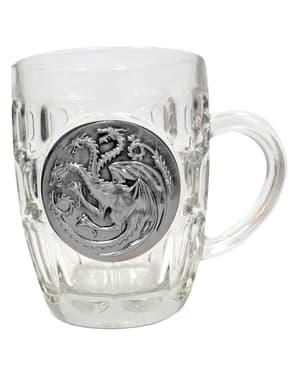 Halbă de sticlă Game of Thrones scut metalic Targaryen