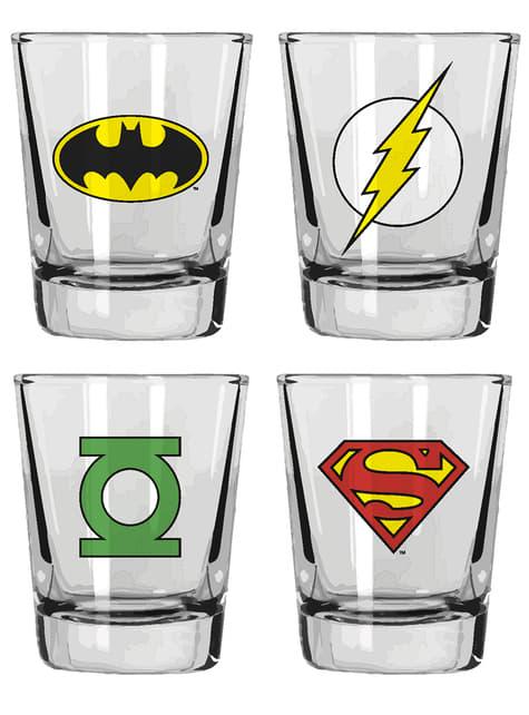 Juego de 4 vasos de DC Comics Logos Héroes