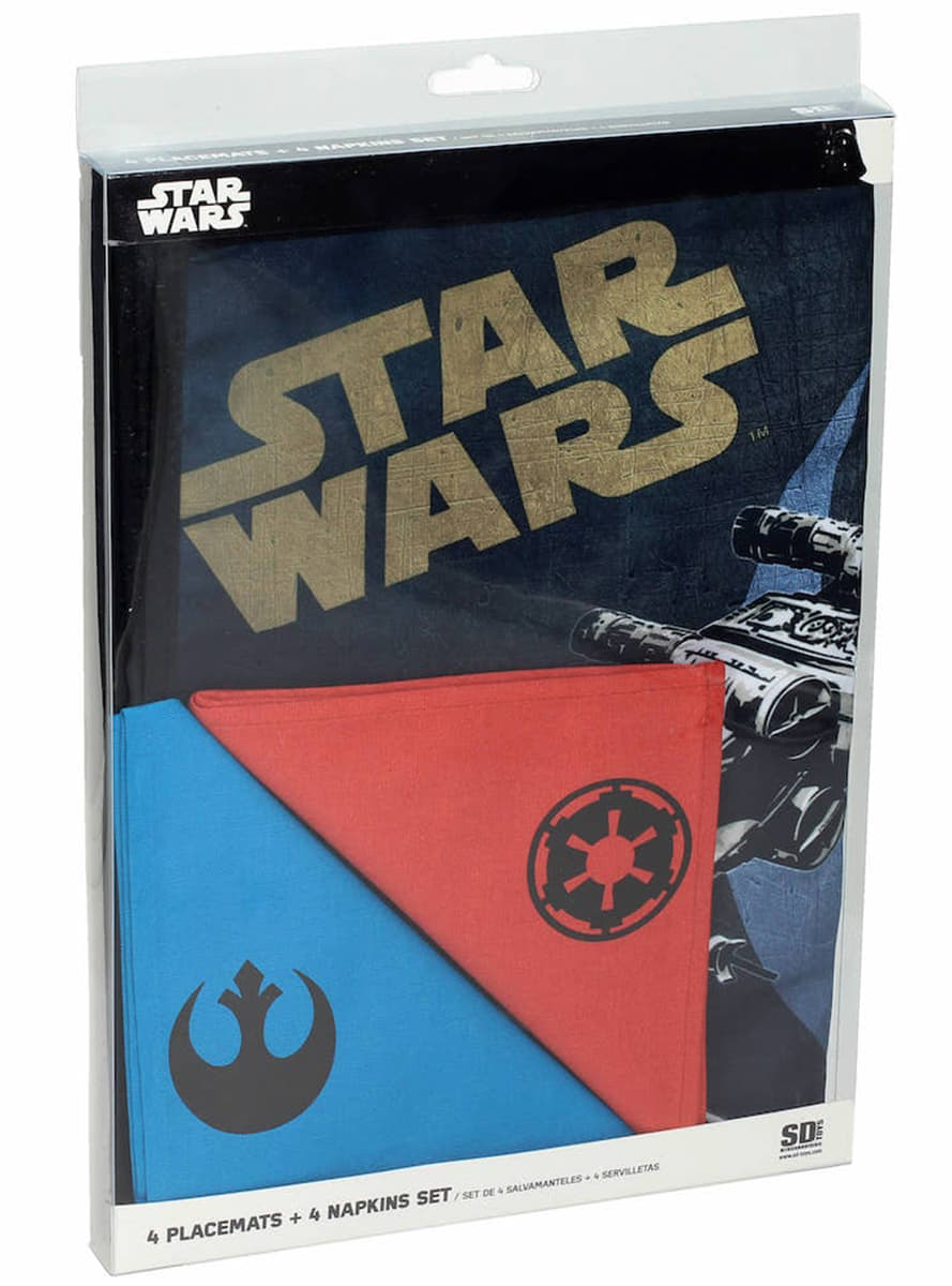 Ensemble de 4 sets de table et 4 serviettes star wars - Ensemble nappe et serviette de table ...