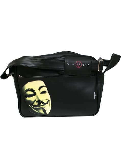 V for Vendetta mask and logo shoulder bag