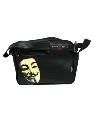 V for Vendetta-olkalaukku naamio- ja logokuvioinnilla