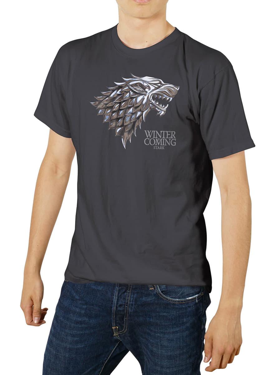 Game of thrones logo metallic stark t shirt premium for Game of thrones dress shirt