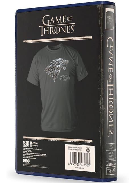 Camiseta de Juego de Tronos Logo Stark metálico packaging premium - oficial