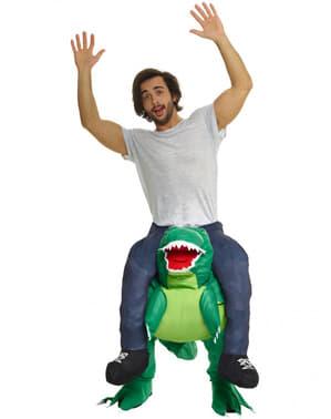 Huckepack auf einem Dino Ride On Kostüm