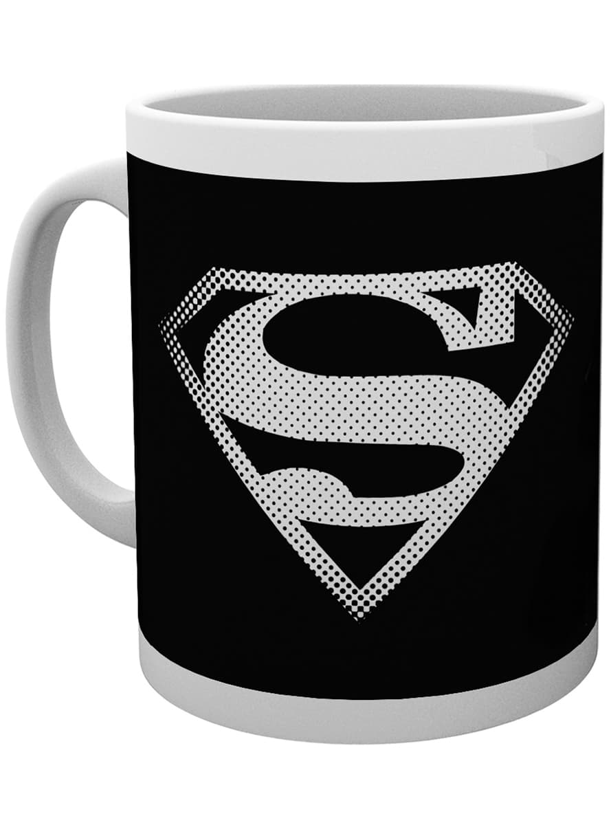 tasse dc comics superman logo schwarz wei funidelia. Black Bedroom Furniture Sets. Home Design Ideas