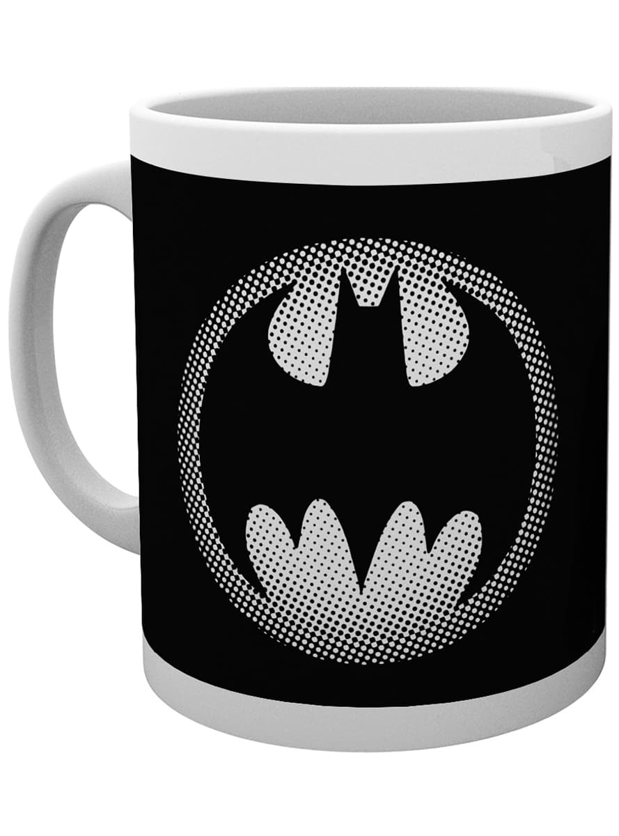 tasse dc comics batman logo schwarz wei funidelia. Black Bedroom Furniture Sets. Home Design Ideas