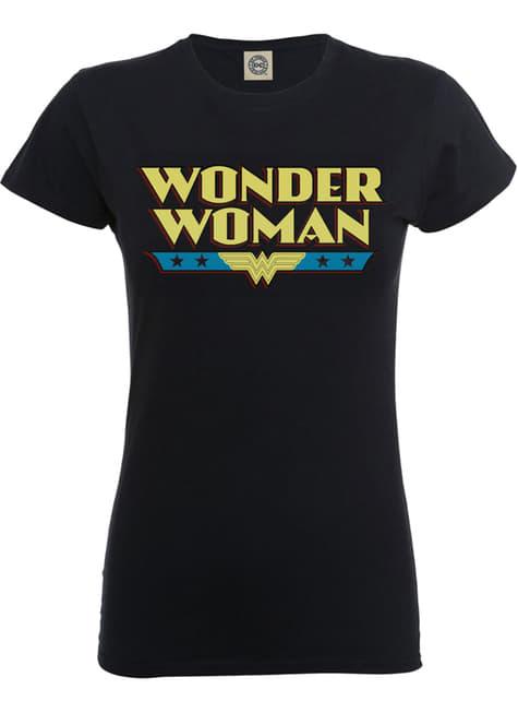 Camiseta de Dc Originals Wonder Woman Logo negra para mujer