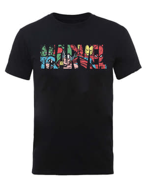 Κοντομάνικη Μπλούζα με το Λογότυπο με τους Χαρακτήρες της Marvel Comics