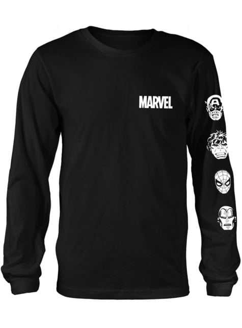 T-shirt de Marvel Comics Stacked Heads de manga comprida