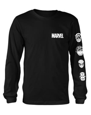 T-shirt de Marvel Comics Stacked Heads de manga comprida