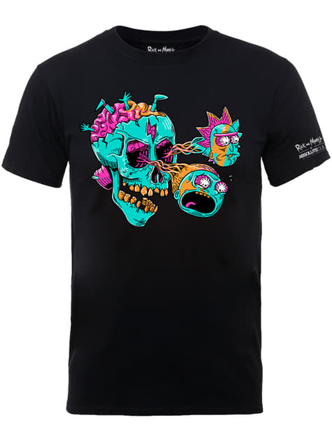 Black Rick & Morty Eyeball Skull t-shirt