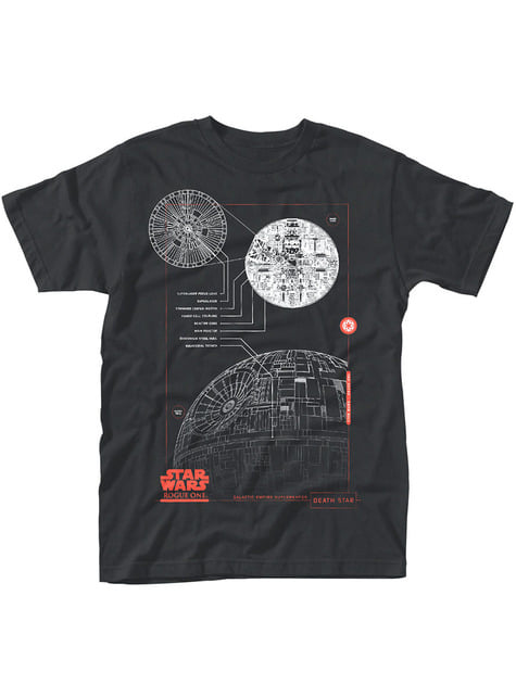 T-shirt de Star Wars Rogue One Blue Print Death Star
