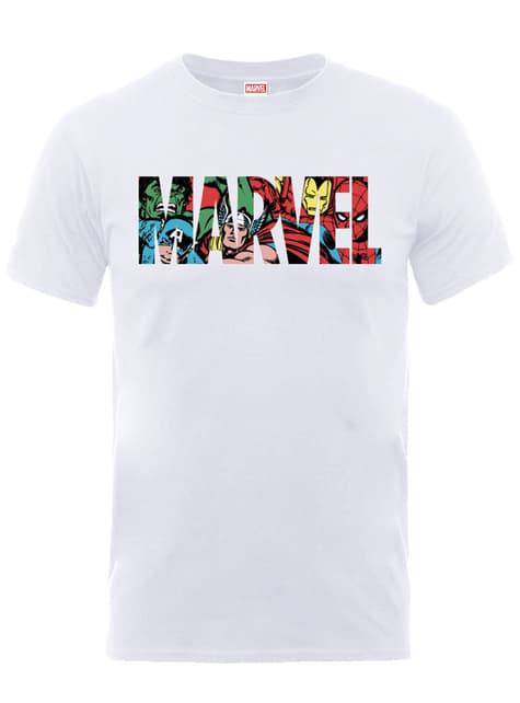T-shirt de Marvel Comics Logo Personagens branca