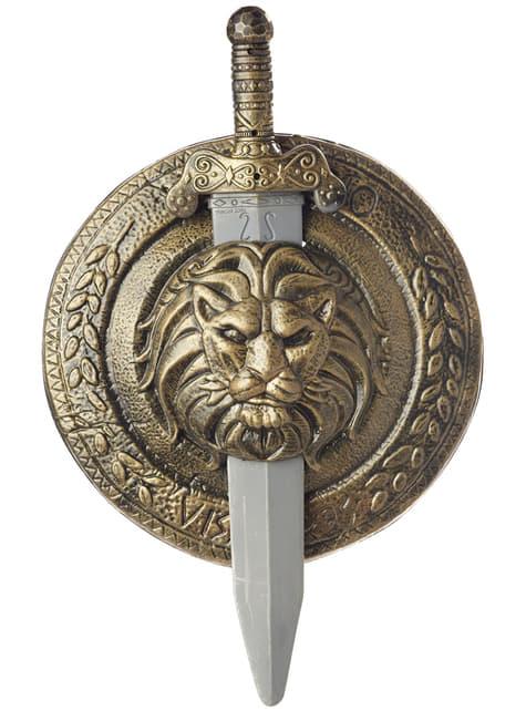 Scudo e spada combattimento gladiatore