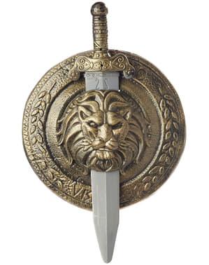 Gladiaattorin taistelukilpi ja miekka