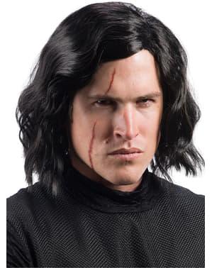 Peruca de Kylo Ren com cicatriz Star Wars The Last Jedi para homem