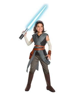 Rey super deluxekostume til piger - Star Wars: The Last Jedi