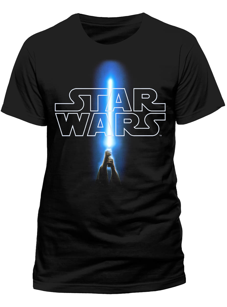 Star Wars Logo And Lightsaber T Shirt Official For Fans