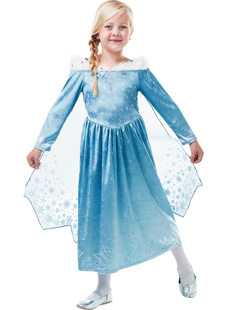 Costume elsa deluxe la reine des neiges fille joyeuses f tes avec olaf livraison 24h funidelia - La reine elsa ...
