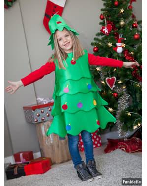 Disfraz de árbol de navidad alegre para niña