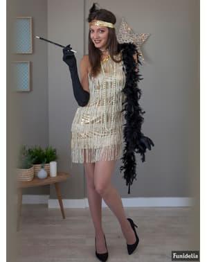 Costum de charleston auriu pentru femeie