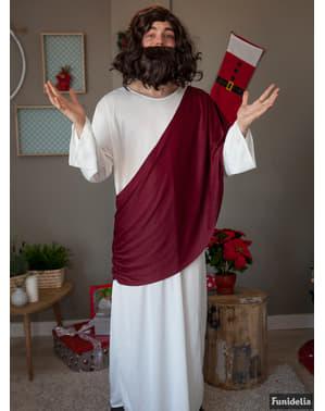 Men's chestnut-coloured wig and beard Jesus set