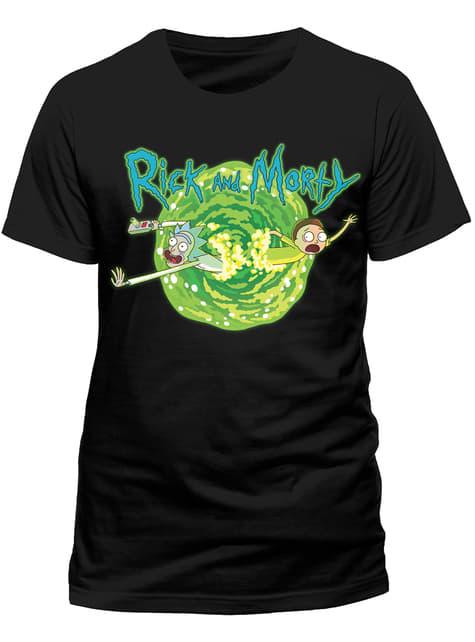 Černé triko portál Rick a Morty