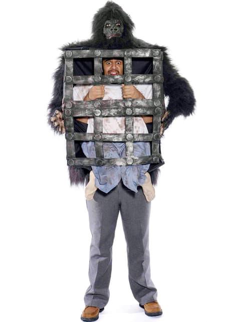 Déguisement d'homme dans la cage du gorille