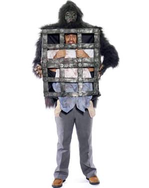 Fato de homem na jaula do gorila
